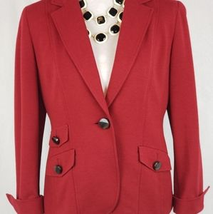 GARNET RED STRETCH WOOL BLEND TAILORED JACKET